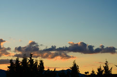 Beautiful sunset panoramic view, Alsace, France Royalty Free Stock Photos
