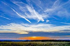 Beautiful sunset panoramic view, Alsace Stock Images