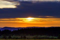Beautiful sunset panoramic view, Alsace Stock Image