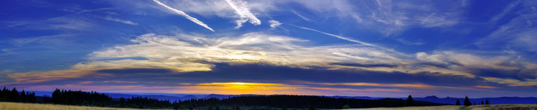 Beautiful sunset panoramic view, Alsace Royalty Free Stock Image
