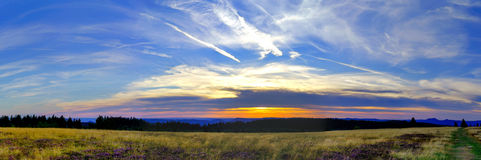 Beautiful sunset panoramic view, Alsace Royalty Free Stock Images