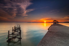 Beautiful sunset at pasir panjang Stock Image