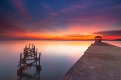 Beautiful sunset at pasir panjang. This new and old jetty at Negeri Sembilan, Malaysia Royalty Free Stock Photo