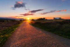 Beautiful sunset on path Stock Photos