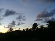 A beautiful sunset with pink clouds stock photos