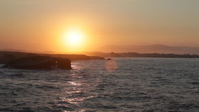 Beautiful sunset on Playa de las Catedrales Royalty Free Stock Photography