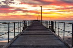 A beautiful sunset at Port Noarlunga on the jetty at Port Noarlunga South Australia on 18th March 2019 stock photo