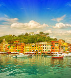 Beautiful sunset in Portofino village on Ligurian coast, Italy Stock Images