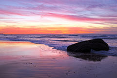 Beautiful sunset at praia Vale Figueiras Portugal Royalty Free Stock Images