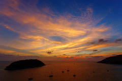 Beautiful sunset in promthep cape is a mountain of rock that ext Royalty Free Stock Image