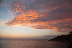 Beautiful sunset at Promthep cape view point in Phuket Stock Images