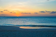 Beautiful sunset in Providenciales on Turks and Royalty Free Stock Photography