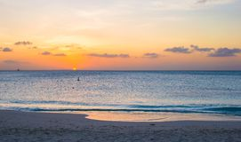 Beautiful sunset in Providenciales on Turks and Stock Photo