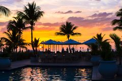 Beautiful sunset in Providenciales on Turks and Stock Image
