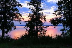 Beautiful sunset purple flowers over a large lake. View from a steep bank royalty free stock photography