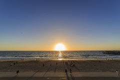 Beautiful sunset at Redondo Beach. With people, Los Angeles, California Royalty Free Stock Image