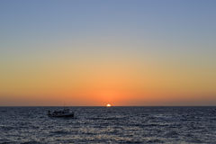 Beautiful sunset at Redondo Beach. With ship, Los Angeles, California Royalty Free Stock Photo