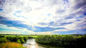 Beautiful sunset reflected on  River in Siberia stock video footage