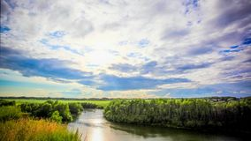 Beautiful sunset reflected on  River in Siberia stock footage