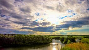 Beautiful sunset reflected on  River in Siberia stock video