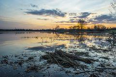 Beautiful sunset reflecting in a lake Royalty Free Stock Photos