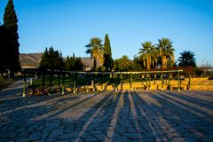 Sunset reflecting on the trees in Pamukkale valley. Beautiful sunset reflecting trees in the Pamukkale valley in Denizli Royalty Free Stock Photos