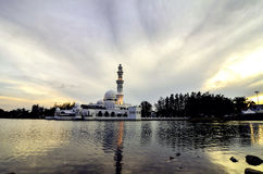 Beautiful sunset and reflection of floating Mosque Royalty Free Stock Photography