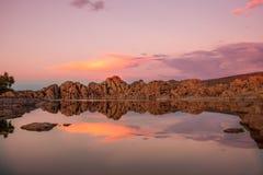 Watson Lake Prescott Arizona Sunset Reflection. A beautiful sunset reflection at Watson Lake Prescott Arizona Royalty Free Stock Photo