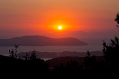Beautiful sunset on Rhodes island, Greece. Beautiful sunset on Rhodes island - Greece stock image