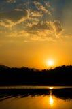 Beautiful sunset on river Stock Photo
