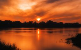 Beautiful sunset on the river stock images