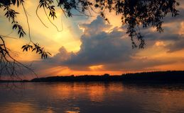 Beautiful sunset on the river royalty free stock photo