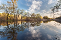 Beautiful sunset on the river in forest with sky reflection Royalty Free Stock Photos