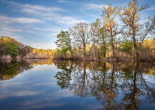 Beautiful sunset on the river in forest with sky reflection Stock Photo