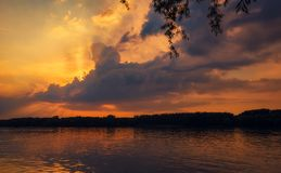 Beautiful sunset on the river royalty free stock images