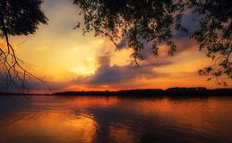 Beautiful sunset on the river royalty free stock photography