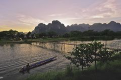 Beautiful sunset on the river Nam Song, Vang Vieng, Laos. Asia royalty free stock image