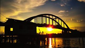 A beautiful sunset at the river near the fisherman village. In Kedah Malaysia stock video