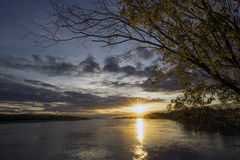 Beautiful sunset on the river Ob Stock Image