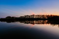 Beautiful sunset on a river Royalty Free Stock Images