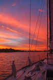 Beautiful sunset on river, view from the ship Stock Photo