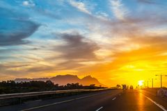 Sunset from road near Cape Town stock photo