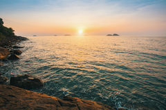 Beautiful sunset on rocky sea shores. Nature. Stock Images