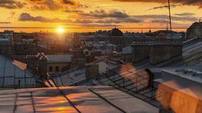Beautiful sunset from the roofs of old Saint Petersburg Stock Photo