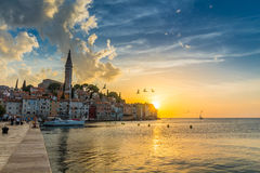 Beautiful sunset at Rovinj in Adriatic sea coast of Croatia, Europe Royalty Free Stock Images