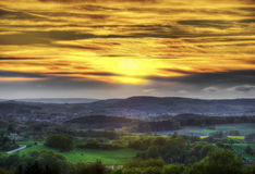 Beautiful sunset in rural area at Stock Image