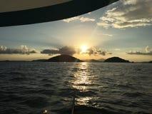Sail on. Beautiful sunset sail in St. John USVI Stock Images