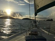 Sail on. Beautiful sunset sail in St. John USVI Royalty Free Stock Photography