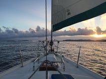 Sail on. Beautiful sunset sail in St. John USVI Royalty Free Stock Photos