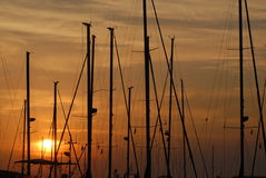 Beautiful sunset with sailing boats Royalty Free Stock Photo